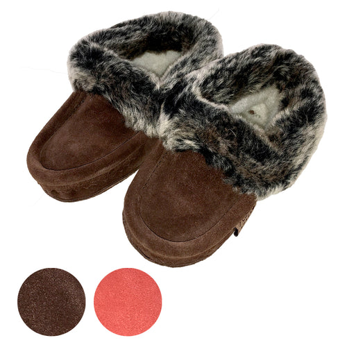 Children's FINAL SALE Faux Fur Suede Moccasins