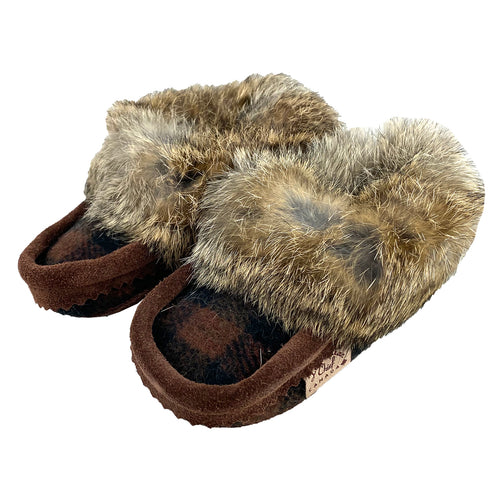 Children's Rabbit Fur Wool Moccasins