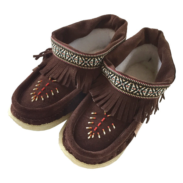 Women's Fringed Beaded Crepe Sole Suede Moccasins