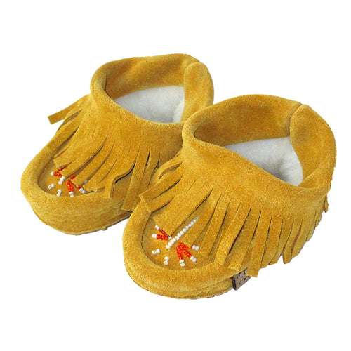 Baby Suede Fringed Beaded Moccasins