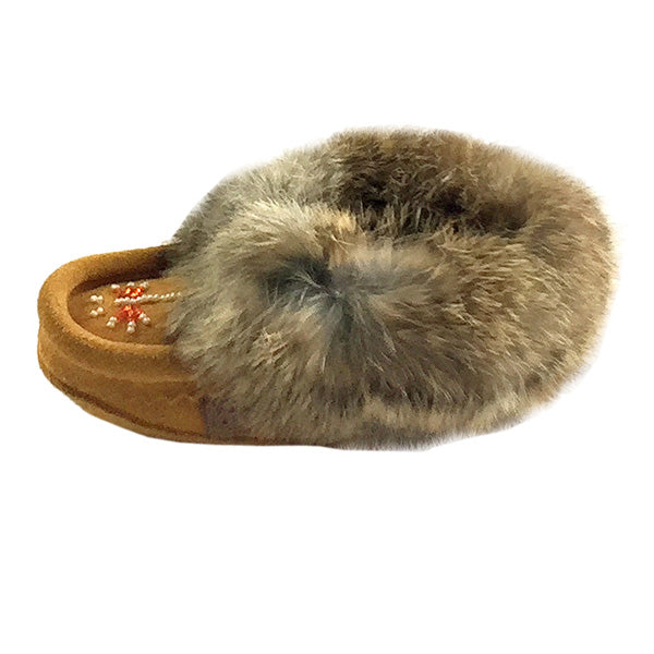 d341c0315 Child s Genuine Suede Fleece Lined Hand-Beaded Moccasin Slippers ...