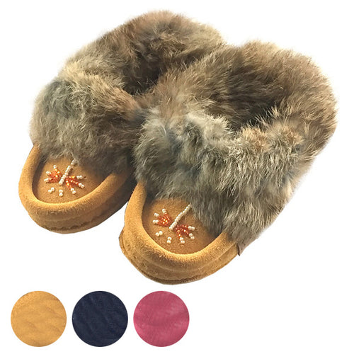 Baby & Children's Rabbit Fur Beaded Moccasins