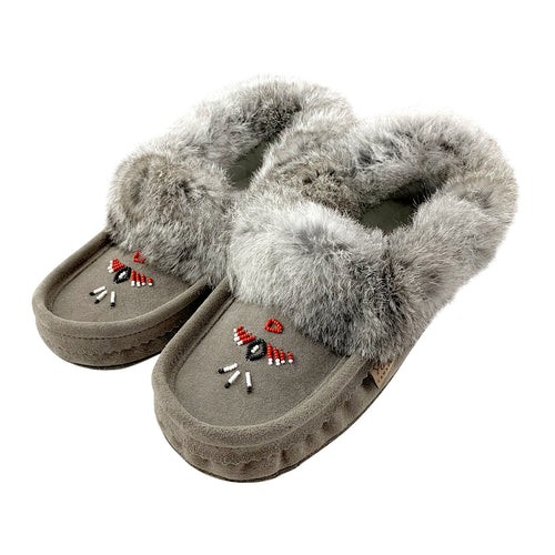Men's Rabbit Fur Thunderbird Beaded Moccasins