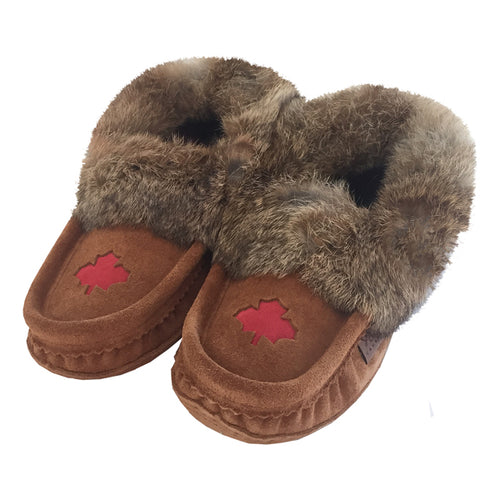 Women's Rabbit Fur Maple Leaf Moccasins