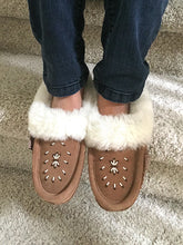 Women's Sheepskin Trim Beaded Moccasins