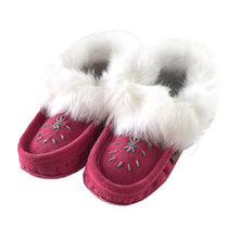 Women's Rabbit Fur Beaded Moccasins