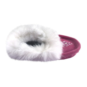 Children's Rabbit Fur Beaded Moccasins