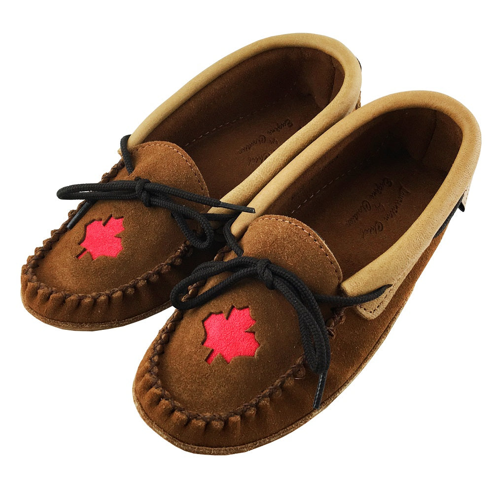 Women's Moose Hide Leather Maple Leaf Moccasins