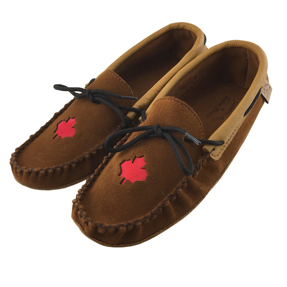 Men's Moose Hide Leather Maple Leaf Moccasins