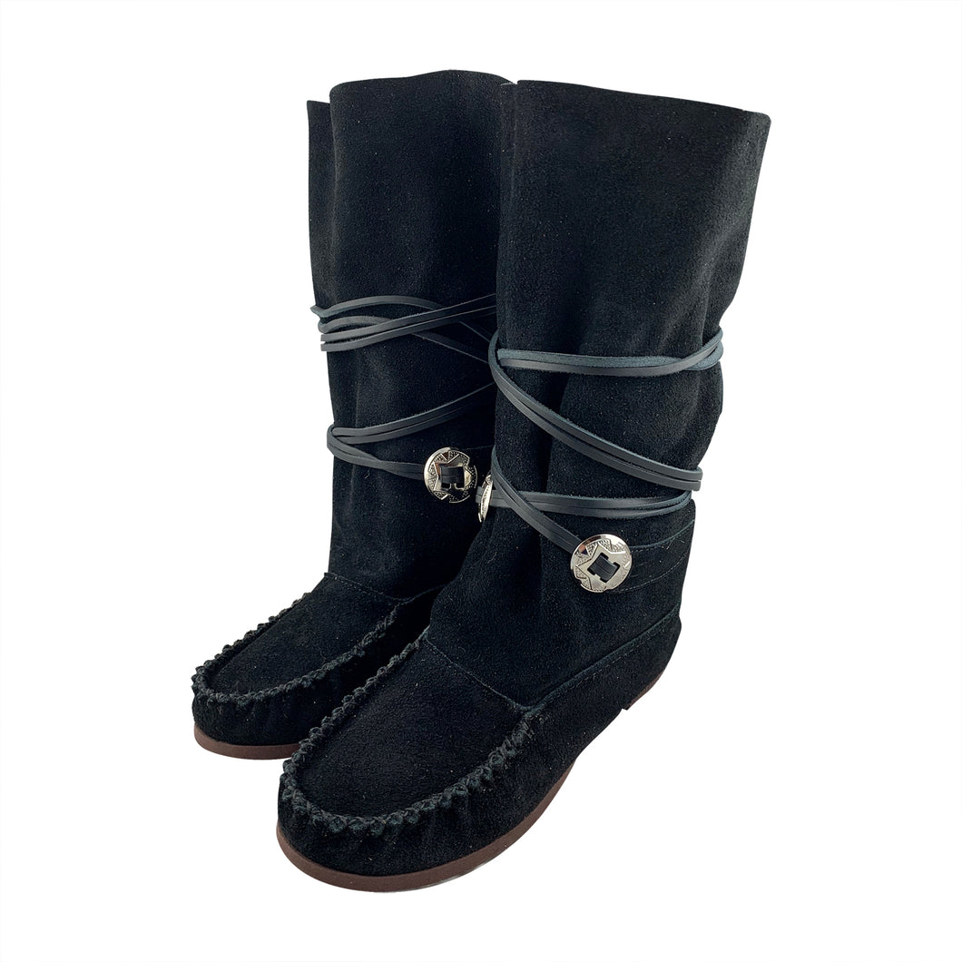 Women's Suede Leather Mid-Calf Concho Moccasin Boots