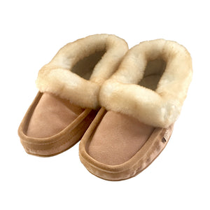 fea2fe1df2d Men s Comfortable Real Sheepskin Lined   Trimmed Moccasin Slippers –  Moccasins Canada