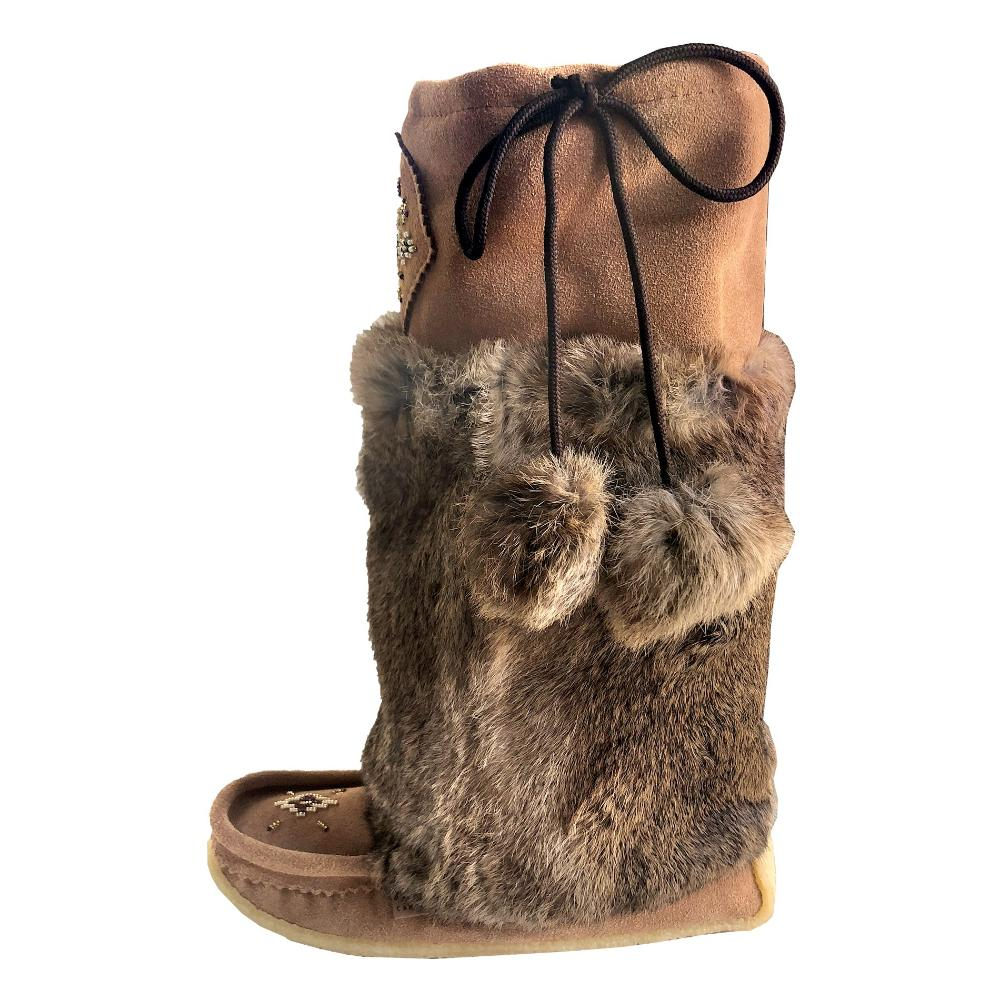 Women S Knee High 16 Brown Genuine Suede Beaded Mukluk