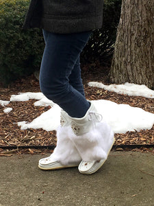 "Women's 13"" White Leather Mukluks"
