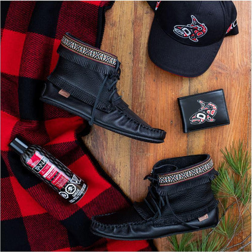 Men's Black Moccasin Boot Gift Set