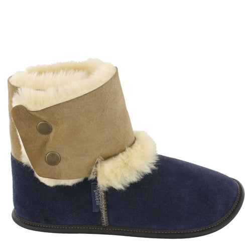 Women's FINAL CLEARANCE Garneau Sheepskin Bootie Slippers ( XL Navy, Beige S & XL only)