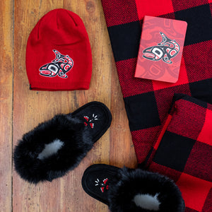 Men's Rabbit Fur Moccasins Gift Set