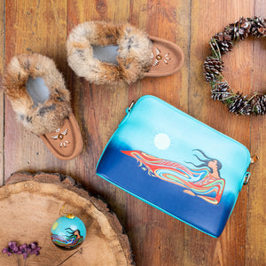 Women's Mocka Rabbit Fur Moccasins Gift Set