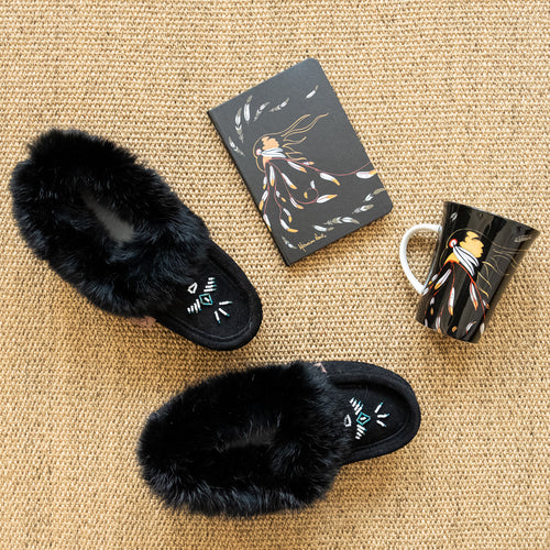 Women's Black Rabbit Fur Moccasins Gift Set