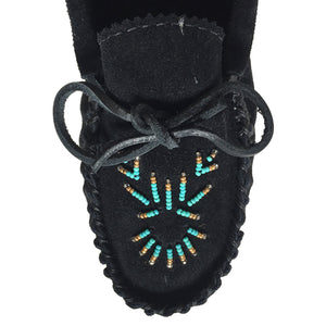 Women's Beaded Black Moccasin Shoes