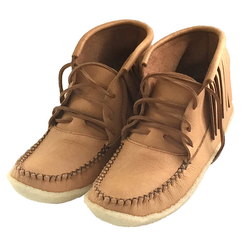 Men's Moose Hide Leather Fringed Moccasin Boots
