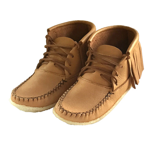 Women's Moose Hide Leather Fringed Moccasin Boots