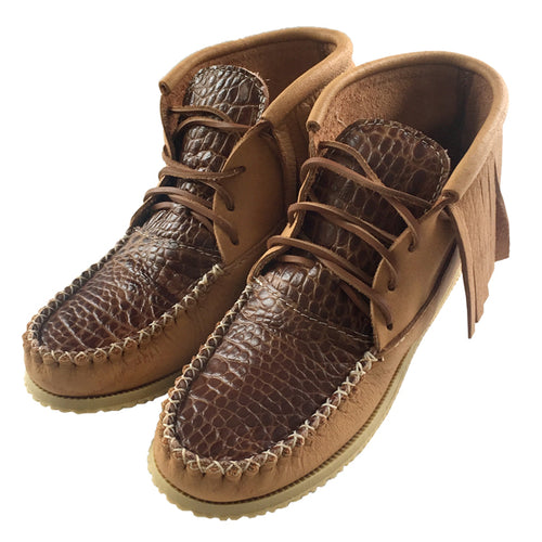 Women's Moose Hide Leather Faux Crocodile Skin Moccasin Boots