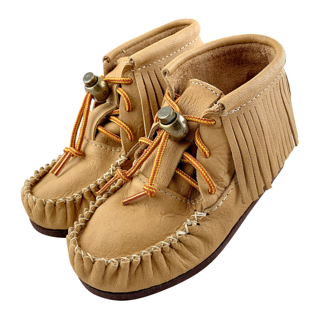 Children's Moose Hide Leather Fringed Moccasin Boots