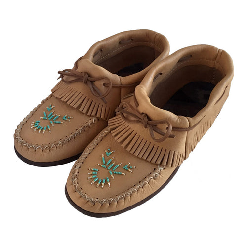 Women's Maple Moose Hide Beaded & Fringed Moccasin Shoes