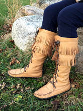 Women's Moose Hide Leather Fringed Knee High Moccasin Boots