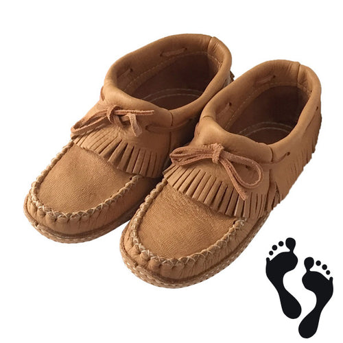 Women's Moose Hide Earthing Fringed Moccasins