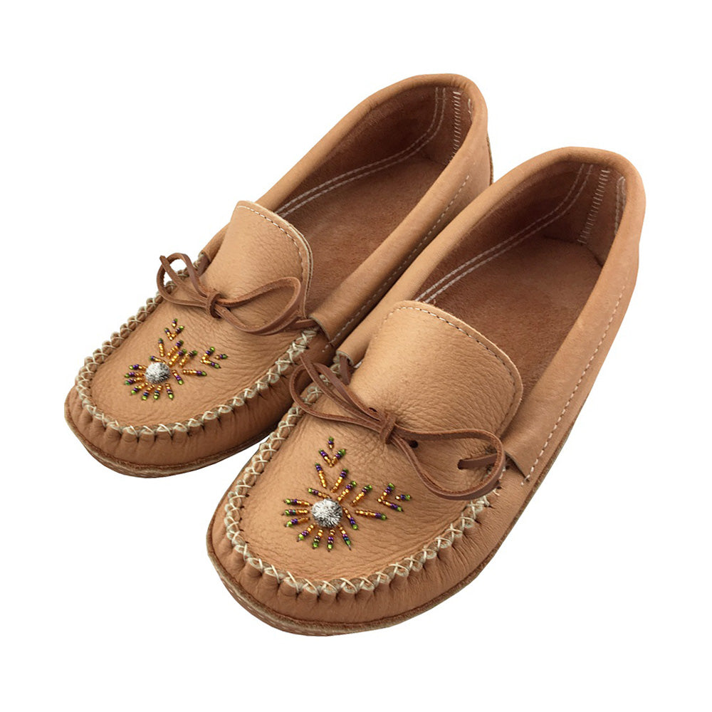 Men's Moose Hide Leather Beaded Moccasins