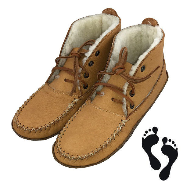 Men's Moose Hide Earthing Sheepskin Ankle Moccasin Boots