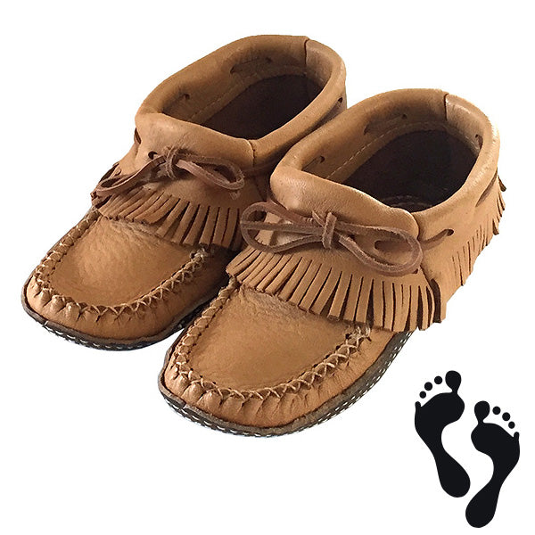 Women's Moose Hide Earthing Fringed Moccasins with Heavy Oil Tan Soles