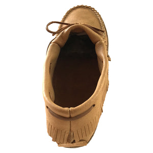Men's Moose Hide Earthing Fringed Moccasins with Heavy Oil Tan Soles