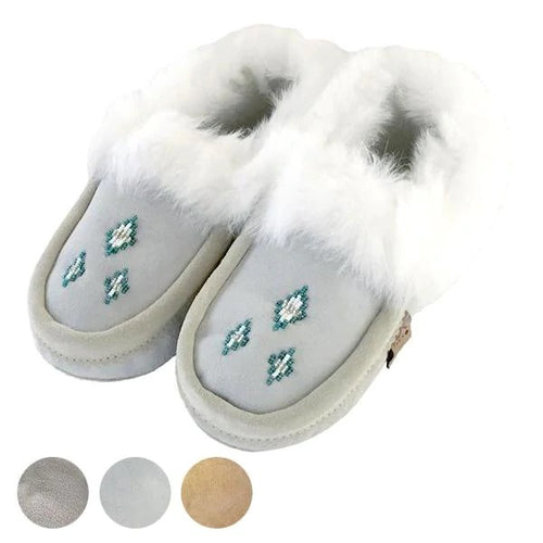 Women's Sheepskin Lined Rabbit Fur Beaded Moccasins