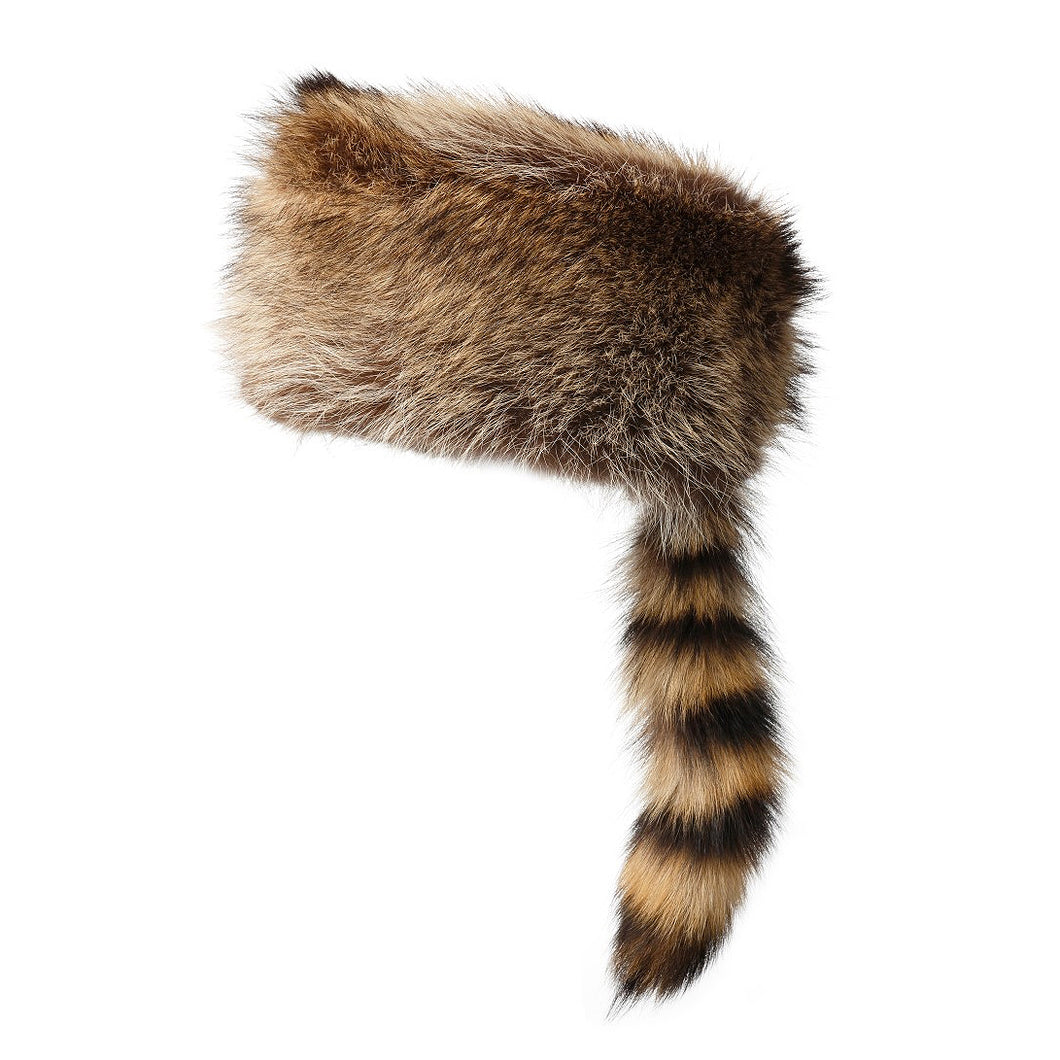 Rabbit Fur Hat with Raccoon Tail