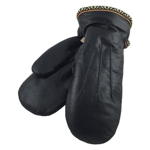 Men's Sheepskin Black Leather Mittens