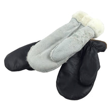 Women's Sheepskin Black Leather Mittens