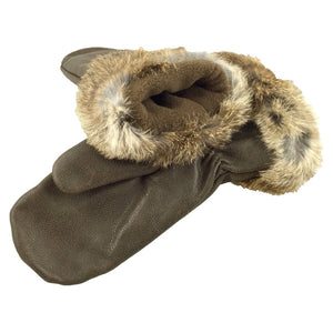Women's Rabbit Fur Leather Mittens - Available in XL Only