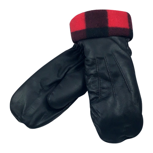 Women's FINAL SALE Buffalo Fleece Black Leather Mittens