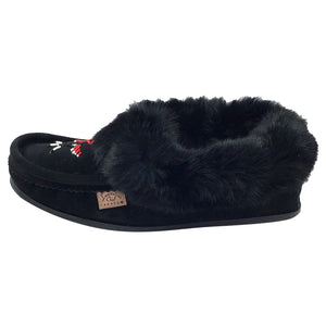 Men's Rabbit Fur Thunderbird Beaded Crepe Sole Moccasins
