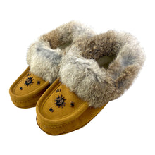 Women's Clearance Rabbit Fur Beaded Moccasins