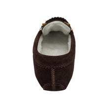 Women's Fleece Lined Beaded Brown Suede Moccasins