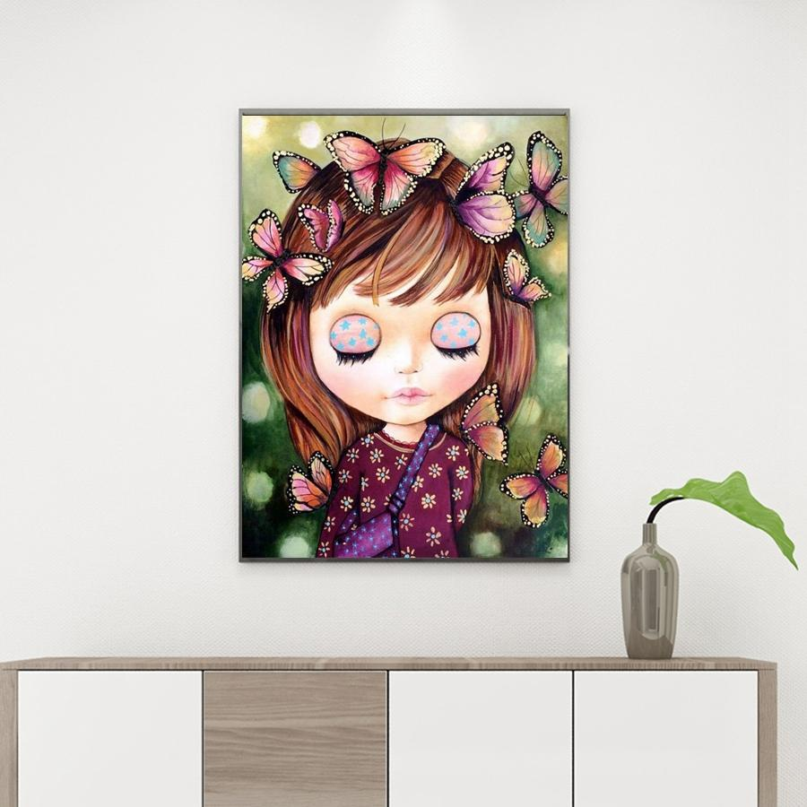 Diamond Painting Meisje met Vlinders Cartoon - Hobby-4U