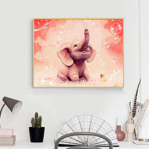 Diamond Painting Roze Olifant Cartoon - Hobby-4U
