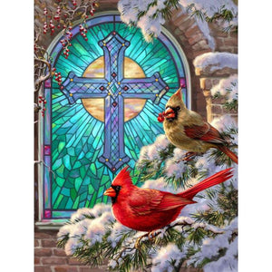 Diamond Painting Vogels in Sneeuw - Hobby-4U