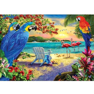 Diamond Painting Vogels op Strand Cartoon - Hobby-4U