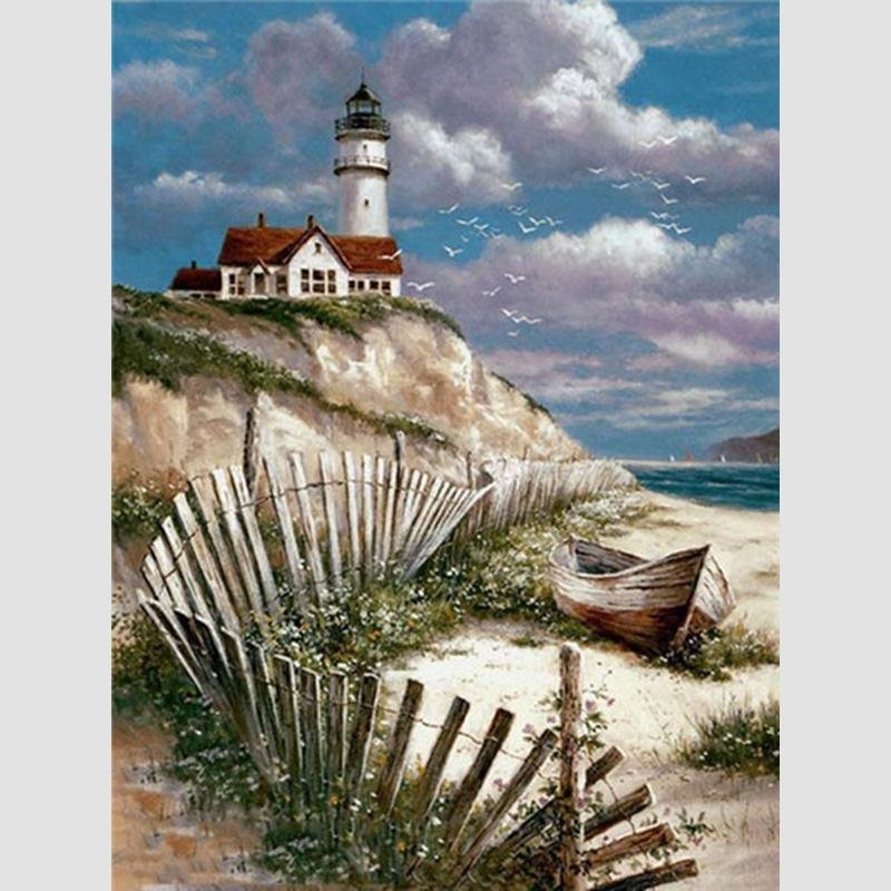 Diamond Painting Vuurtoren & Boot - Hobby-4U