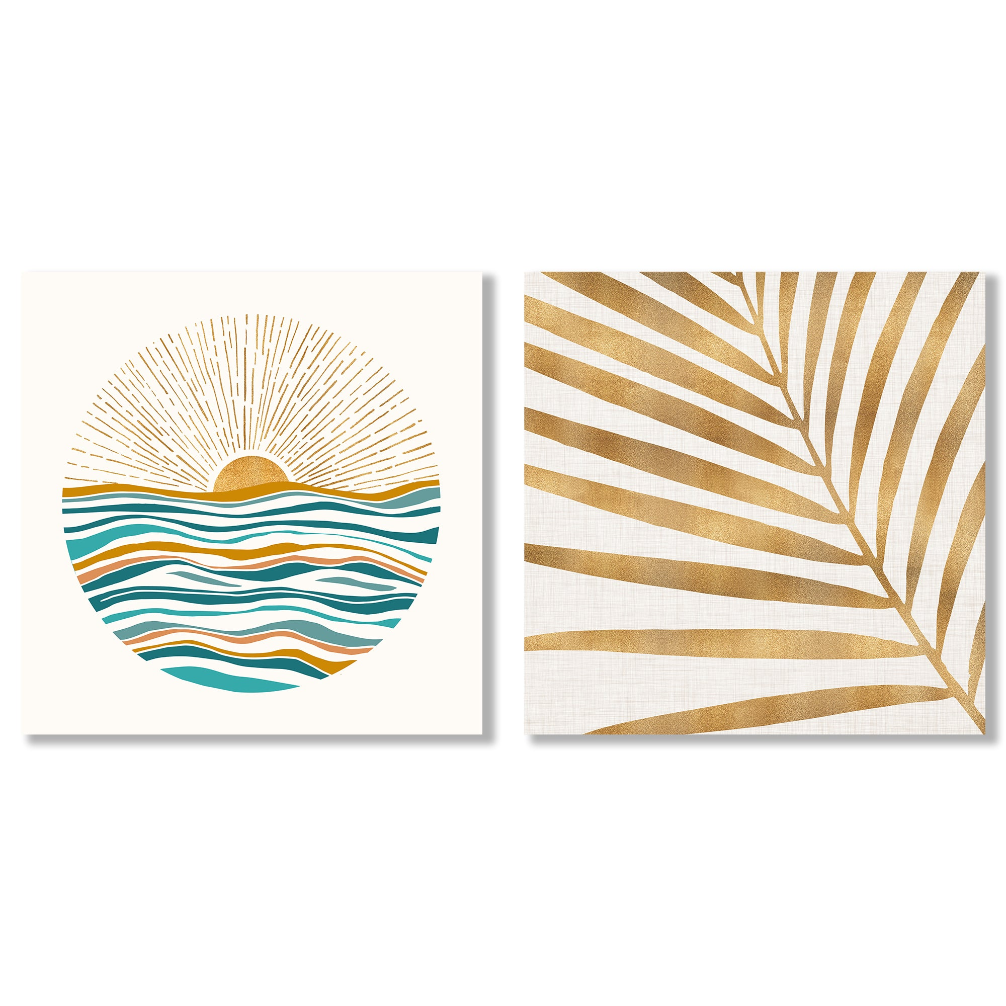 California Sunset by Modern Tropical - 2 Piece Gallery Wrapped Canvas Set - Art Set - Americanflat