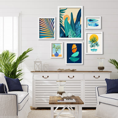 Contemporary Blue & Orange Botanicals - 6 Piece Framed Gallery Wall Set - Art Set - Americanflat